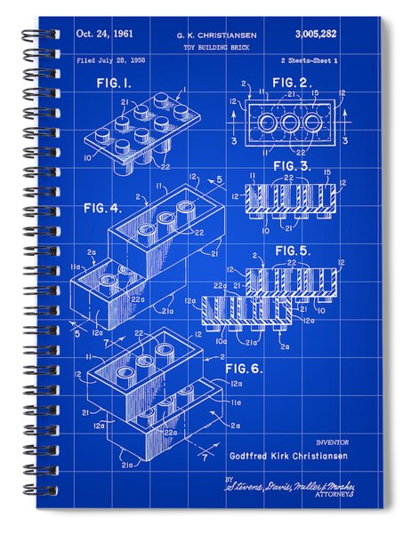 Lego Patent 1958 - Blue Spiral Notebook
