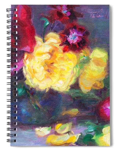 Lemon And Magenta - Flowers And Radish Spiral Notebook