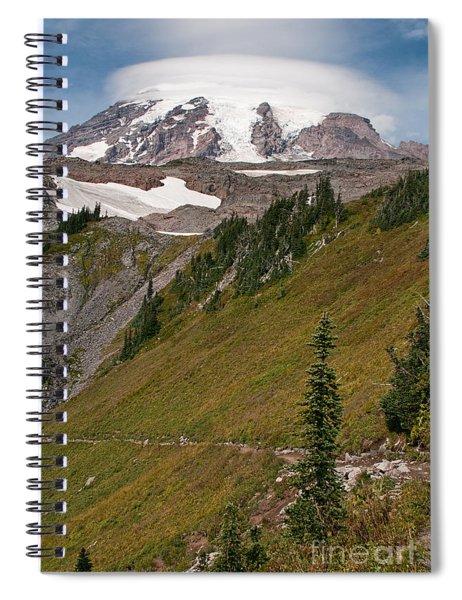 Lenticular Cloud Atop Mt Rainier Spiral Notebook
