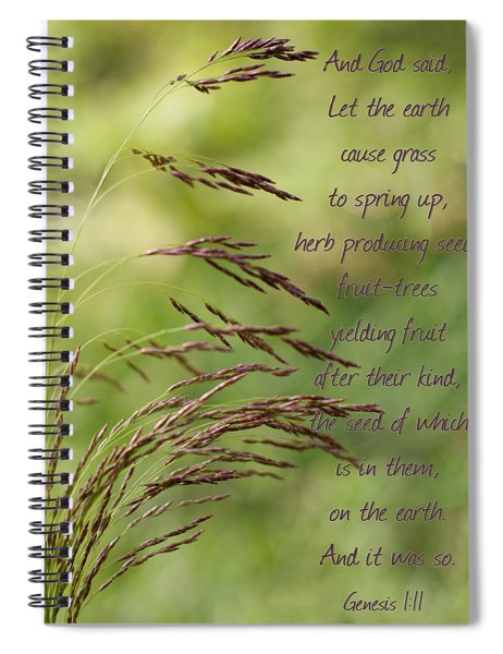 Let The Earth Bring Forth Grass Genesis Spiral Notebook
