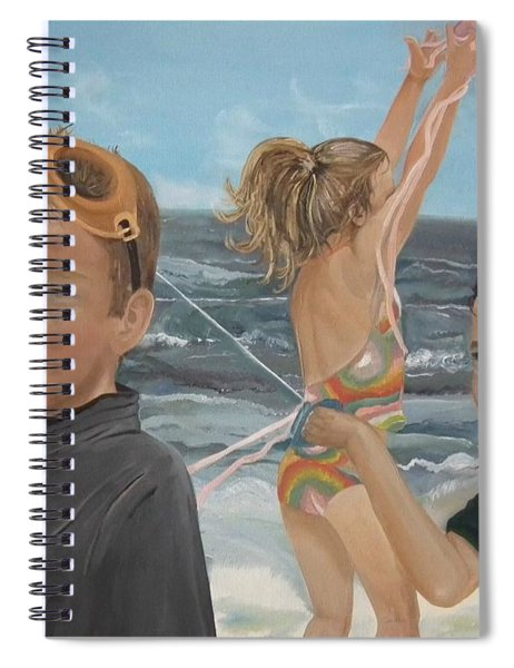 Spiral Notebook featuring the painting Beach - Children Playing - Kite by Jan Dappen