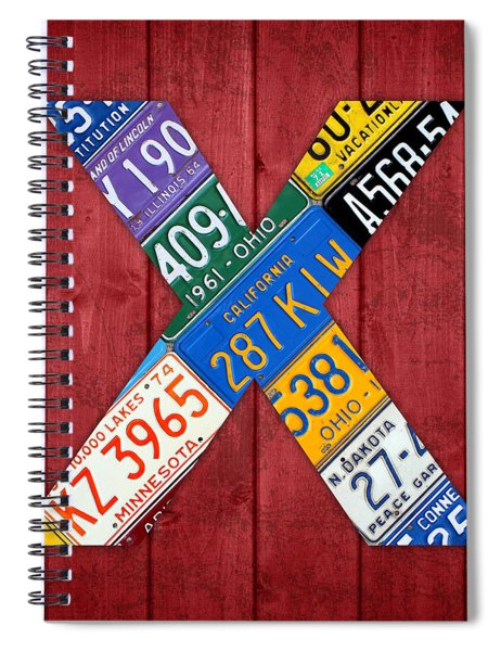 Letter X Alphabet Vintage License Plate Art Spiral Notebook