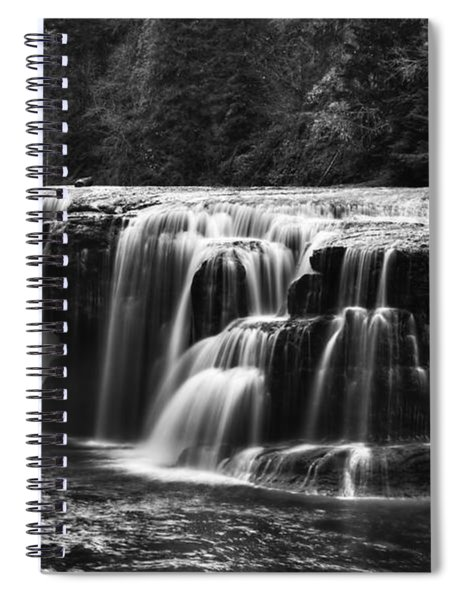 Lewis River Lower Falls Black And White Spiral Notebook