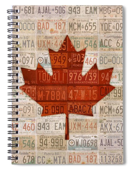 License Plate Art Flag Of Canada Spiral Notebook