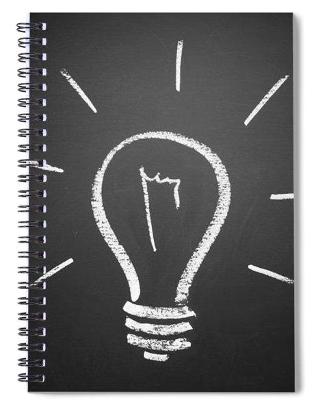 Light Bulb On A Chalkboard Spiral Notebook