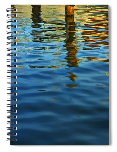 Light Reflections On The Water By A Dock At Aransas Pass Spiral Notebook