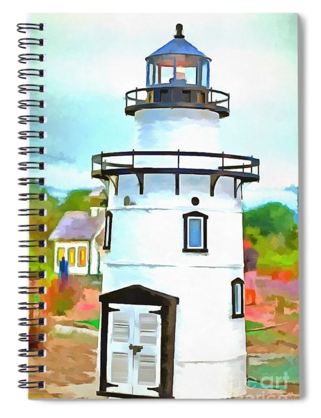 Spiral Notebook featuring the photograph Lighthouse At Old Saybrook Point by Edward Fielding