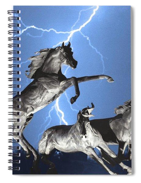 Lightning At Horse World Bw Color Print Spiral Notebook