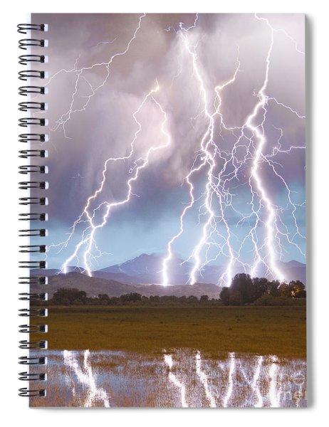 Lightning Striking Longs Peak Foothills 4c Spiral Notebook