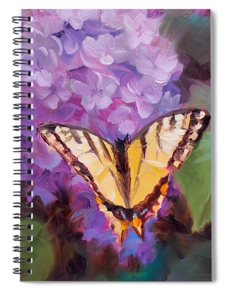 Lilacs And Swallowtail Butterfly Purple Flowers Garden Decor Painting  Spiral Notebook