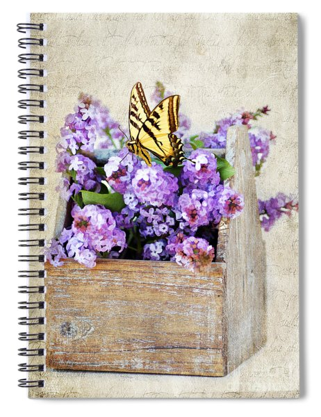 Lilacs And The Butterfly Spiral Notebook
