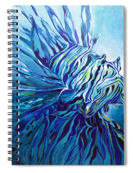 Lionfish Abstract Blue Spiral Notebook