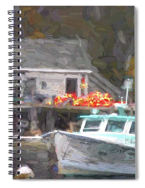 Lobster Boat New Harbor Maine Painterly Effect Spiral Notebook