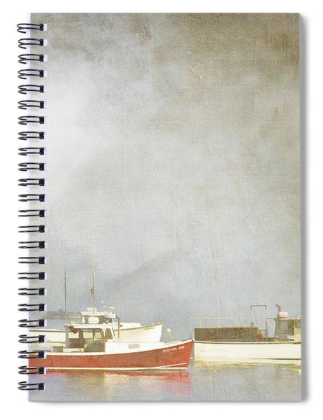 Lobster Boats At Anchor Bar Harbor Maine Spiral Notebook
