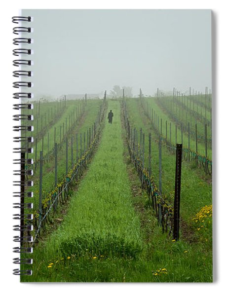 Lone Figure In Vineyard In The Rain On The Mission Peninsula Michigan Spiral Notebook