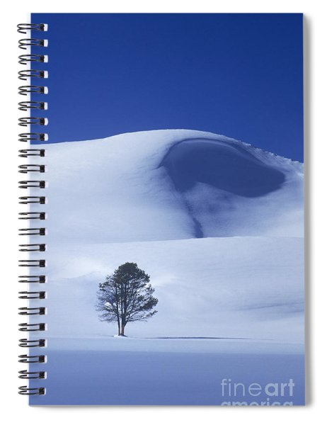 Lonely Tree In Winter Yellowstone National Park Spiral Notebook