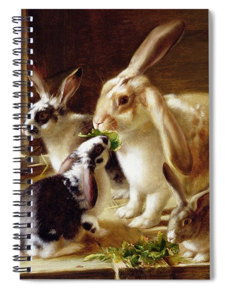 Long-eared Rabbits In A Cage Watched By A Cat Spiral Notebook