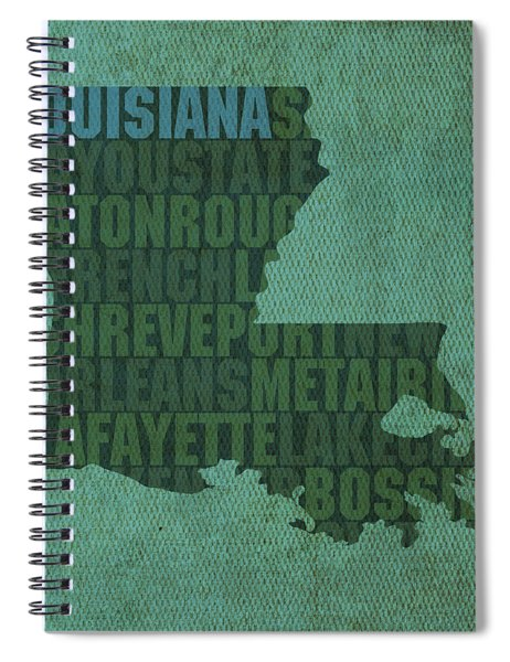 Louisiana Word Art State Map On Canvas Spiral Notebook by Design Turnpike