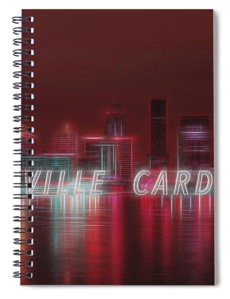 Louisville Kentucky Skyline Red Univ Of Louisville Spiral Notebook