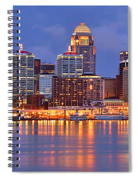 Louisville Skyline At Dusk Sunset Panorama Kentucky Spiral Notebook