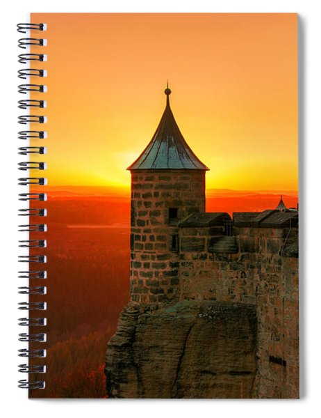 Low Sun On The Fortress Koenigstein Spiral Notebook