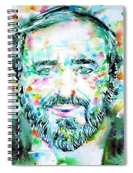 Luciano Pavarotti - Watercolor Portrait Spiral Notebook