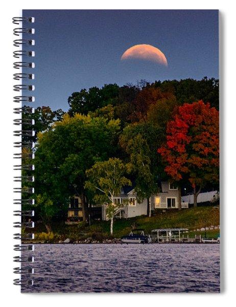 Lunar Eclipse Over Pewaukee Lake Spiral Notebook