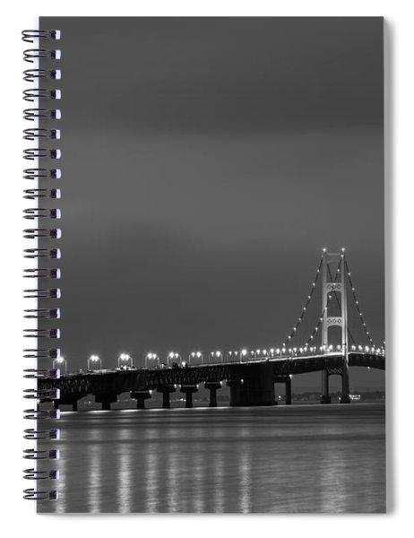 Mackinac Bridge Black And White Spiral Notebook
