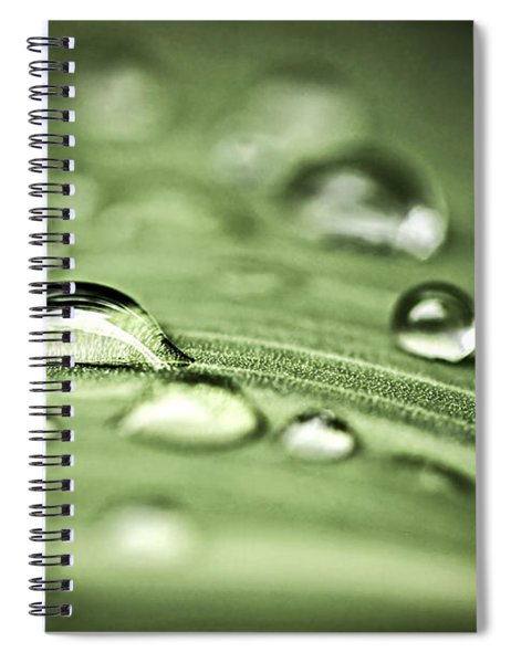 Macro Raindrops On Green Leaf Spiral Notebook