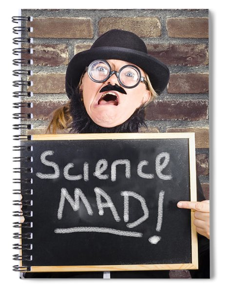 Mad Scientist Showing Blank Science Diagram Spiral Notebook
