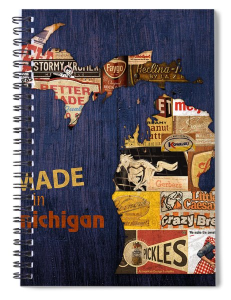 Made In Michigan Products Vintage Map On Wood Spiral Notebook