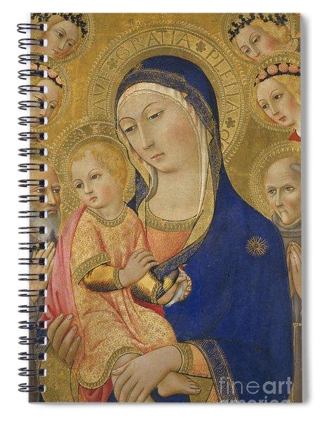 Madonna And Child With Saint Jerome Saint Bernardino And Angels Spiral Notebook