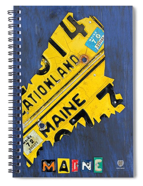 Maine License Plate Map Vintage Vacationland Motto Spiral Notebook by Design Turnpike