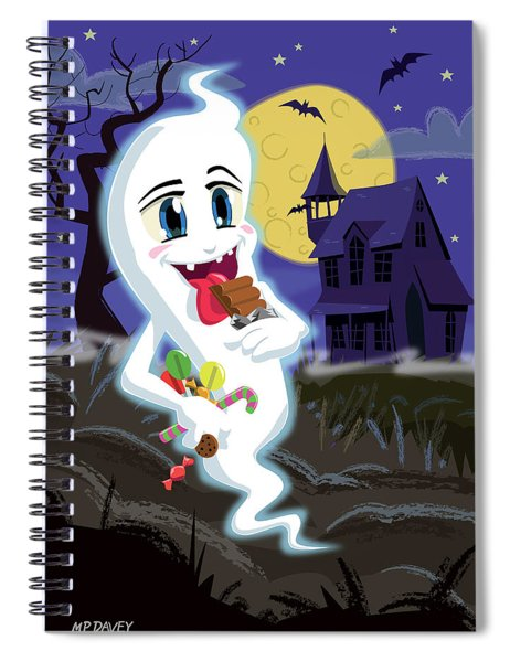 Manga Sweet Ghost At Halloween Spiral Notebook