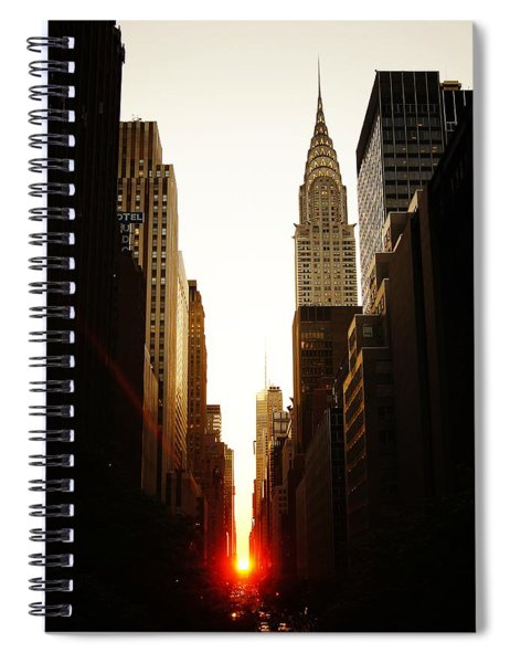 Manhattanhenge Sunset And The Chrysler Building  Spiral Notebook
