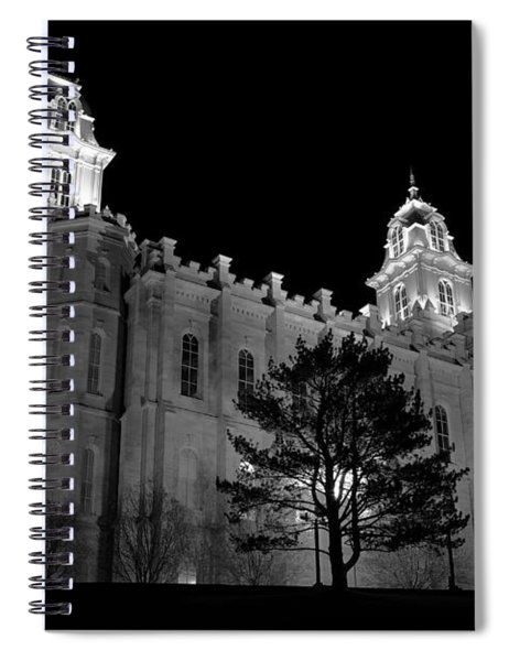 Manti Temple Black And White Spiral Notebook