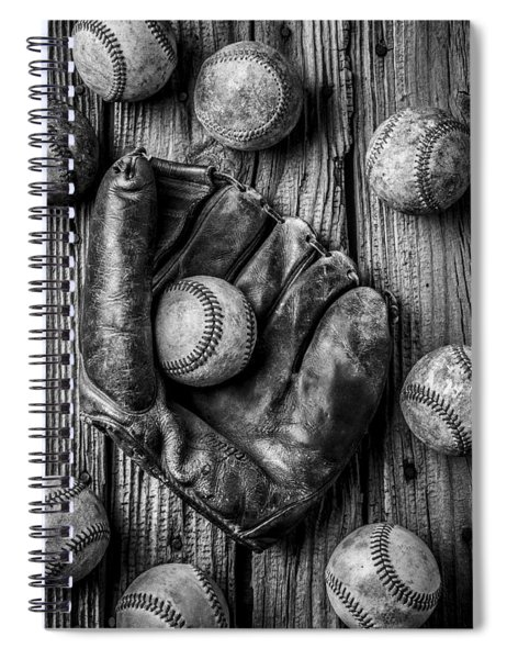 Many Baseballs In Black And White Spiral Notebook