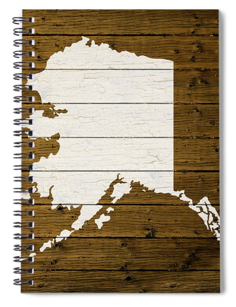 Map Of Alaska State Outline White Distressed Paint On Reclaimed Wood Planks. Spiral Notebook