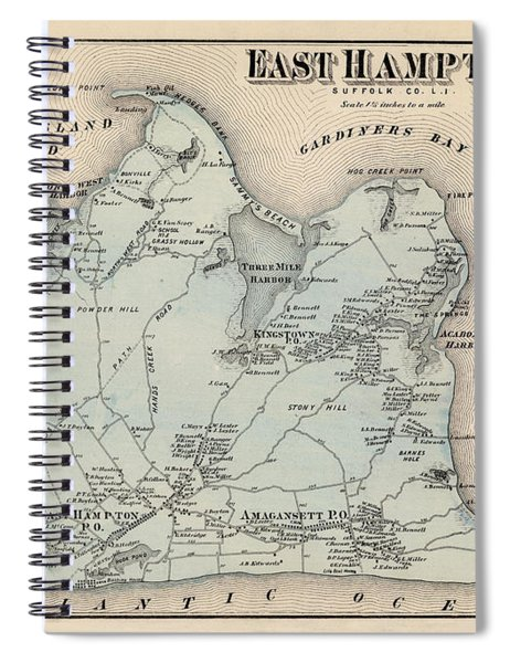 Map Of East Hampton 1873 Spiral Notebook