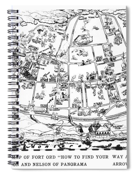 Map Of Fort Ord Army Base Monterey California Circa 1950 Spiral Notebook