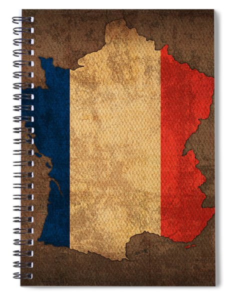 Map Of France With Flag Art On Distressed Worn Canvas Spiral Notebook