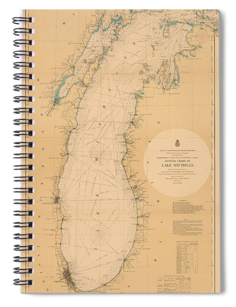 Map Of Lake Michigan 1898 Spiral Notebook