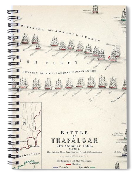 Map Of The Battle Of Trafalgar Spiral Notebook