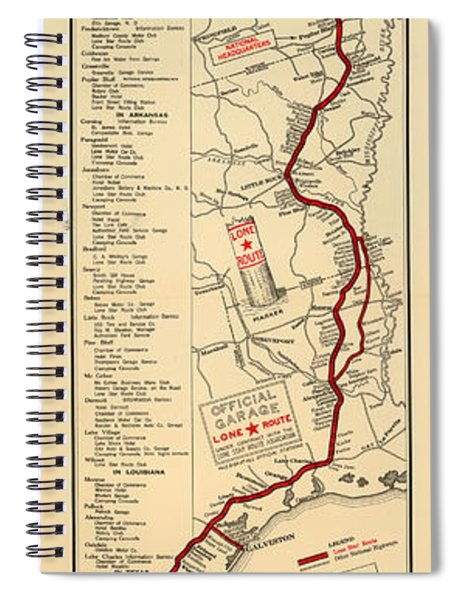 Map Of The Lone Star Route 1922 Spiral Notebook