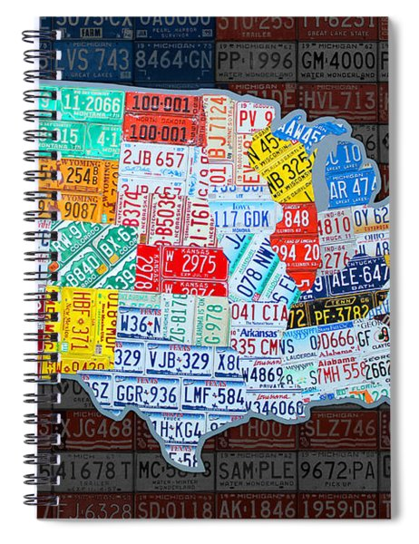 Map Of The United States In Vintage License Plates On American Flag Spiral Notebook