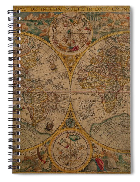 Map Of The World 1599 Vintage Ancient Map On Worn Parchment Spiral Notebook