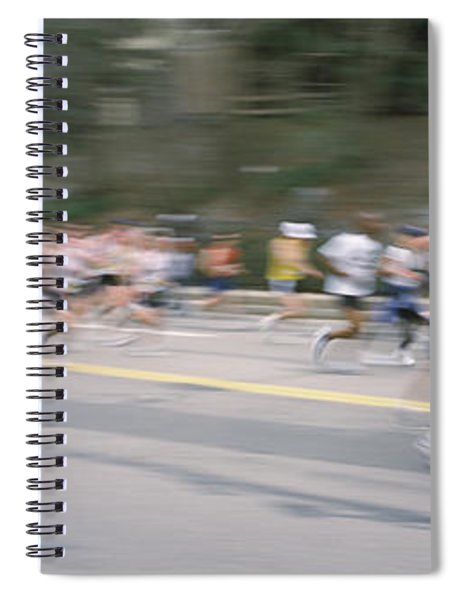 Marathon Runners On A Road, Boston Spiral Notebook