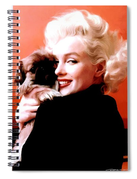 Marilyn Monroe And Pekingese Portrait Spiral Notebook