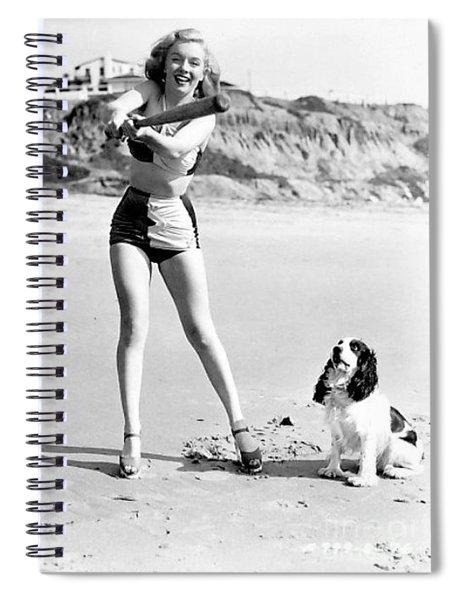 Marilyn Playing Baseball At The Beach Spiral Notebook