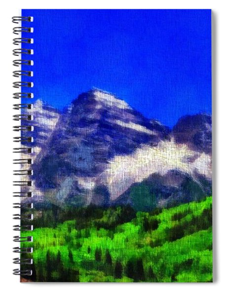 Maroon Bells Colorado Peaks On Canvas Spiral Notebook